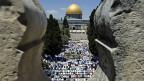 Blick auf den Felsendom auf dem Tempelberg von Jerusalem;  der Ort gilt sowohl Moslems wie auch Juden als Heiligtum.