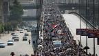 Die Lage in Ägypten beschäftigte die Medien den ganzen Monat Juli. Bild: Demonstration der Unterstützer von Mahammed Mursi am 30. Juli 2013 im Nasr-City-Quartier in Kairo.