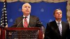 Die zwei US-Senatoren John McCain und Lindsey Graham an einer Medienkonferenz in Kairo, am 6. August 2013