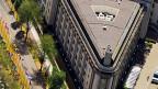 Luftaufnahme auf ein Gebäude des Haager Tribunals.