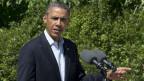 Präsident Barack Obama spricht von Martha's Vineyard aus, wo er seine Sommerferien verbringt, zu den Medien in Bezug auf die Ereignisse in Ägypten am 15. August 2013.