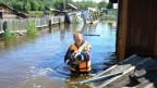 Flut im im russisch-chinesischen Grenzgebiet