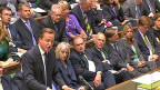 Der britische Premier Cameron vor dem Unterhaus - während der Debatte um einen möglichen Militärschlag gegen Syrien.