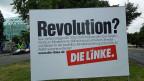 Wahlkampf-Plakat in ostdeutschen Bundesland Sachsen.
