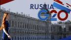 Blick durch die Glastüre des Pressezentrums des G20-Gipfels in St. Petersburg.