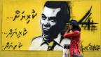 ein Wahlkampf-Graffiti auf den Malediven