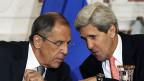 Der russische Aussenminister Sergej Lawrow und US-Aussenminister John Kerry. Sie haben bereits am 9. August in Washington über Syrien gesprochen; das damalige Treffen endete erfolglos.