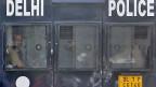 Polizeifahrzeug am 11. September vor dem Gericht in Neu Delhi.