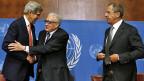 US-Aussenminister John Kerry, der Uno-Sondergesandte für SyrienLakhdar Brahimi und der russische Aussenminister Sergej Lawrow am 13. September in Genf.