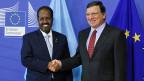 Der somalische Präsident Hassan Sheikh Mohammud und EU-Kommissionspräsident José Manuel Barroso am 16. September in Brüssel.