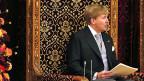 König Willem Alexander hielt seine erste Thronrede - aus der Feder der Regierung. Er verkündete ein rigoroses Sparprogramm.