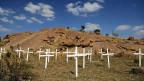 34 Kreuze erinnern an die 34 Opfer des Polizeieinsatzes gegen die Minenarbeiter.