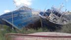 gestrandete Flüchtlingsboote am Strand von Lampedusa