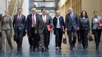 Die deutchen Sozialdemokraten auf dem Weg zu den Gesprächen über eine mögliche schwarz-rote Koalition,  am 17. Oktober in Berlin