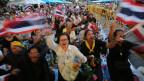 Demonstranten wehren sich gegen das umstrittene Amnestiegesetz.  Sie befürchten die Rückkehr von Thaksin Shinawatra.