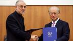 Mit Händedruck besiegeln Ali Akbar Salehi, Chef der iranischen Atomenergie-Behörde und IAEA-Chef Yukiya Amano, am 11. November in Teheran.