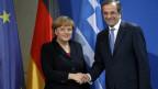 Demonstrierte Einigkeit. Die deutsche Bundeskanzlerin Angela Merkel und der Ministerpräsident von Griechenland, Antonis Samaras, am 22. November 2013 in Berlin.