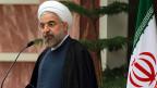 Iran und sechs Weltmächte vereinbarten, dass Iran sein Atomprogramm begrenzt. Der iranische Hassan Rowhani während eines Mediengespräch in Teheran am 24. November 2013.