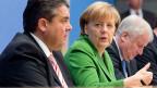 SPD-Chef Sigmar Gabriel, Bundeskanzlerin Angela Merkel und CSU-Chef Horst Seehofer nach der Unterzeichnung des Koalitionsvertrages.