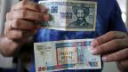 Oben 20 Pesos Cubanos, unten 20 Pesos Convertibles.