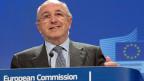 EU-Wettbewerbskommissar Joaquin Almunia an Medienkonferenz in Brüssel zu den Bussen im Libor-Skandal.