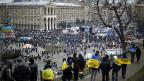 Demonstration auf dem Maidan, dem Unabhängigkeitsplatz, der ukrainischen Hauptstadt Kiew.