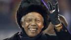 «Ein grosses Licht ist erloschen». (Zitat von David Cameron). Bild. Nelson Mandela während der Abschlussfeier für die Weltmeisterschaft 2010 in Johannesburg am 11. Juli 2010.