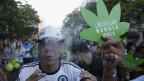 Menschen an  der sogenannten «Last-Demonstration mit illegalen Marihuana» auf dem Weg zum Kongressgebäude in Montevideo am  10. Dezember 2013.