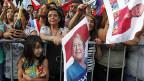 Michelle Bachelet feiert in Santiago ihren Wahlsieg.