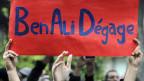 Demonstranten fordern am 14. Januar 2011 in Tunis die Absetzung des tuneischen Diktators Ben Ali.
