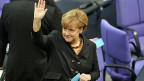 Bundeskanzlerin Angela Merkel während der Kanzlerwahl im deutschen Bundestag.