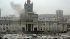 Bahnhof von Wolgograd, nach der Explosion am Sonntag, die mindestens 17 Todesopfer forderte.
