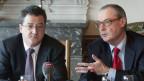 Yves Rossier (links) und David O'Sullivan am EU-Treffen.