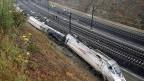 Der entgleiste Zug in der Nähe von Santiago de Compostela.