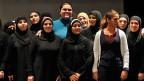Syrische Flüchtlingsfrauen spielen Theater «Die syrischen Frauen von Troja», am 18. Dezember 2013 in der jordanischen Hauptstadt Amman.