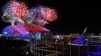 Feuerwerk über dem Olympic Park während der Eröffnungsfeier der Olympischen Winterspiele 2014 in Sotschi, Russland, am 7. Februar 2014.