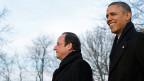 François Hollande und Barack Obama auf dem Landsitz Monticello.