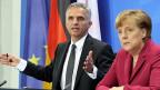 Bundespräsident Burkhalter und die deutsche Bundeskanzlerin Merkel in Berlin.