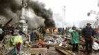 Chaos und Zerstörung auf dem Maidan im Zentrum der ukrainischen Hauptstadt Kiew.