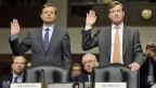 Romeo Cerutti und Brady Dougan beim Schwur vor dem Ausschuss des US-Senats.