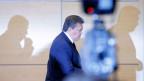 Der ukrainische Ex-Präsident Viktor Janukowitsch beim Verlassen der Pressekonferenz in der südrussischen Stadt Rostow am 28. Februar 2014.
