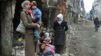 Eine Strasse im Süden der syrischen Hauptstadt Damaskus.
