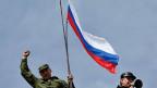 Russische Flage auf dem Hauptquartier des ukrainischen Marine in Sewastopol.