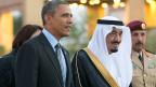 US-Präsident Barack Obama bei seinem Treffen mit dem saudischen König Abdullah in  Saudi-Arabien am 28. März 2014.