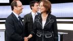 Premier Manuel Valls (Mitte) mit Präsident François Hollande und der neuen Umwelt- und Energieministerin Ségolène Royal. Royal war während fast 30 Jahren die Lebensgefährtin Hollandes.
