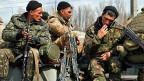 Soldaten der ukrainischen Armee in der Nähe der ukrainischen Stadt Kramatorsk.