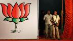 Das Symbil der BJP-Partei des Präsidentschaftskandidaten Narendra Modi.