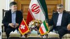 SVP-Nationalrat Luzi Stamm mit Alaeddin Boroujerdi, einem iranischen Parlamentarier in Teheran.