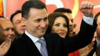 Der mazedonische Premierminister und Führer der regierenden konservativen Partei VMRO-DPMNE Nikola Gruevski nach dem Doppelsieg der Parlaments-und Präsidentschaftswahlen in Skopje am 28. April 2014.