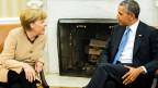 US-Präsident Barack Obama (rechts) und Bundeskanzlerin Angela Merkel am 2. Mai 2014 in Washington.